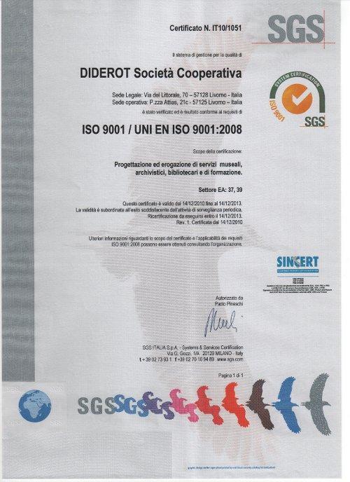 Coop. Diderot UNI EN ISO 9001:2008